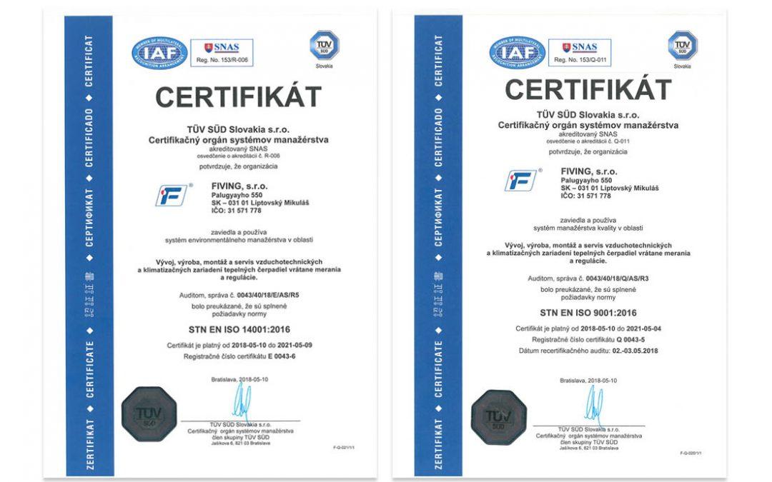 Získali sme certifikácie