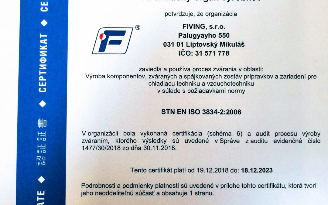 Certifikát ISO 3834